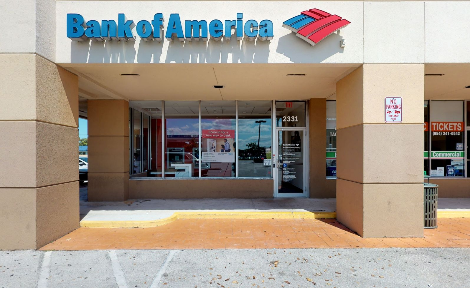 Bank of America Advanced Center with walk-up ATM   2331 N 60th Ave, Hollywood, FL 33021