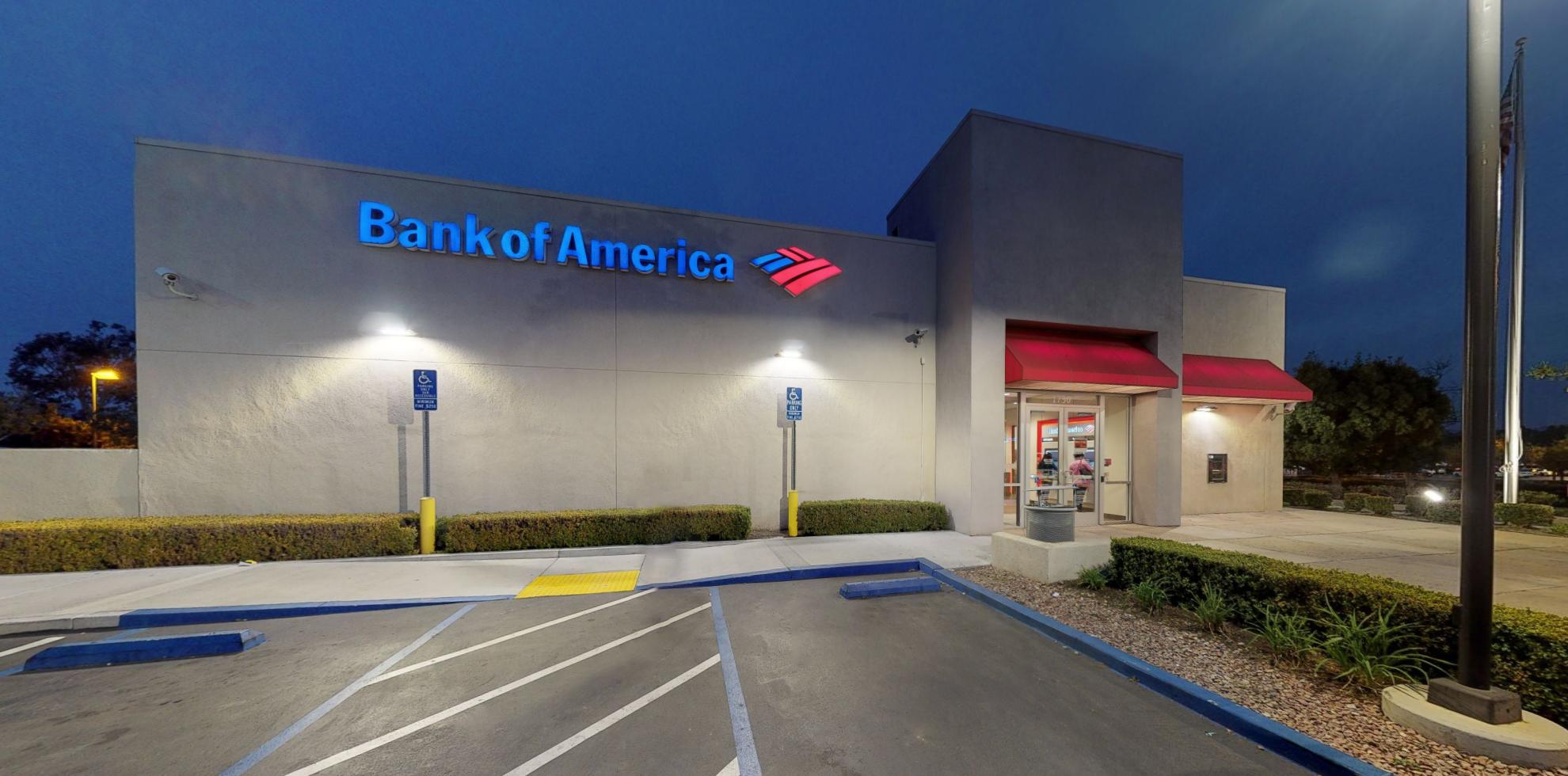 Bank of America financial center with drive-thru ATM   1730 University Dr, Vista, CA 92083