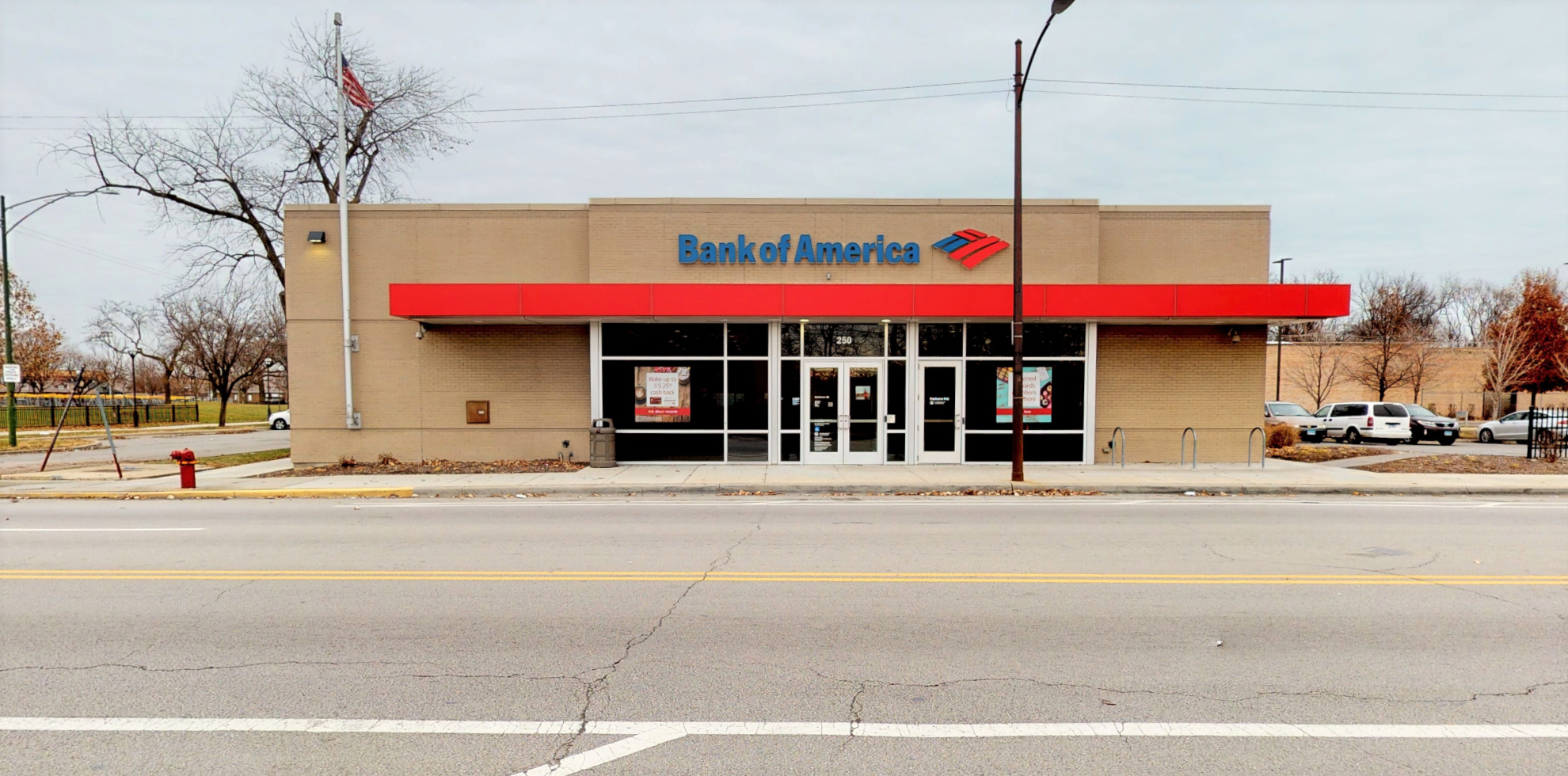 Bank of America financial center with drive-thru ATM   250 W 83rd St, Chicago, IL 60620