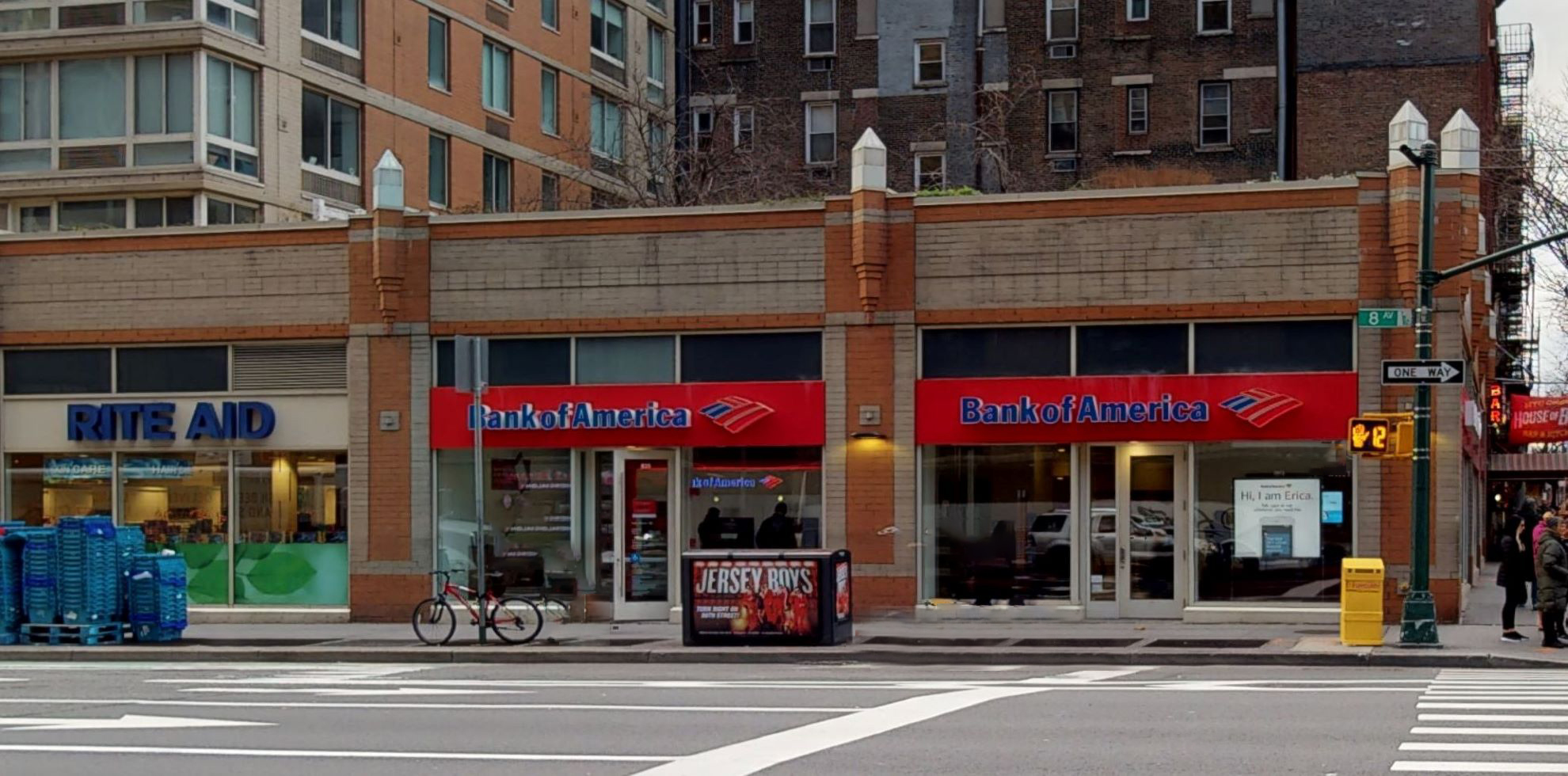 Bank of America financial center with walk-up ATM | 835 8th Ave, New York, NY 10019