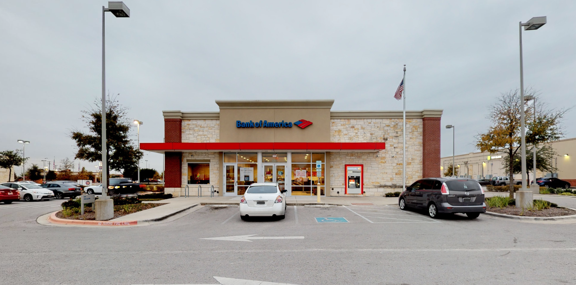 Bank of America financial center with drive-thru ATM   5207 Kyle Center Dr, Kyle, TX 78640