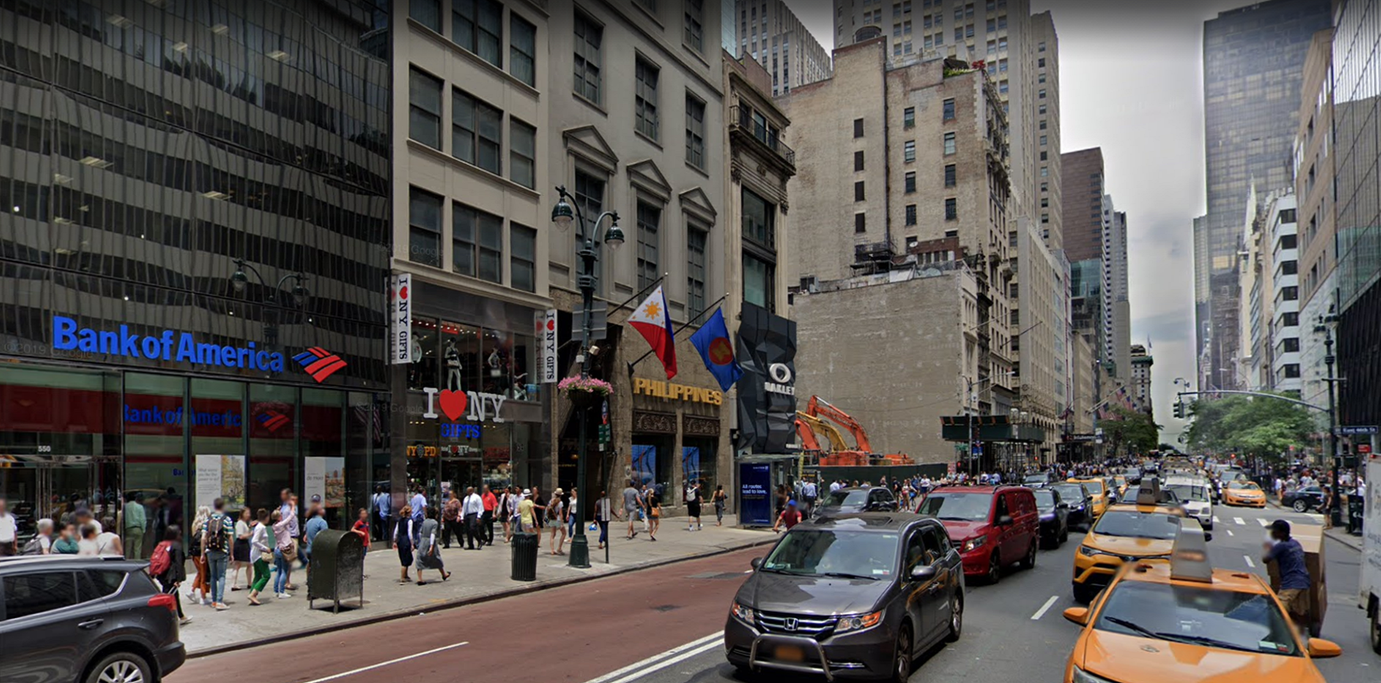 Bank of America financial center with walk-up ATM | 550 5th Ave, New York, NY 10036