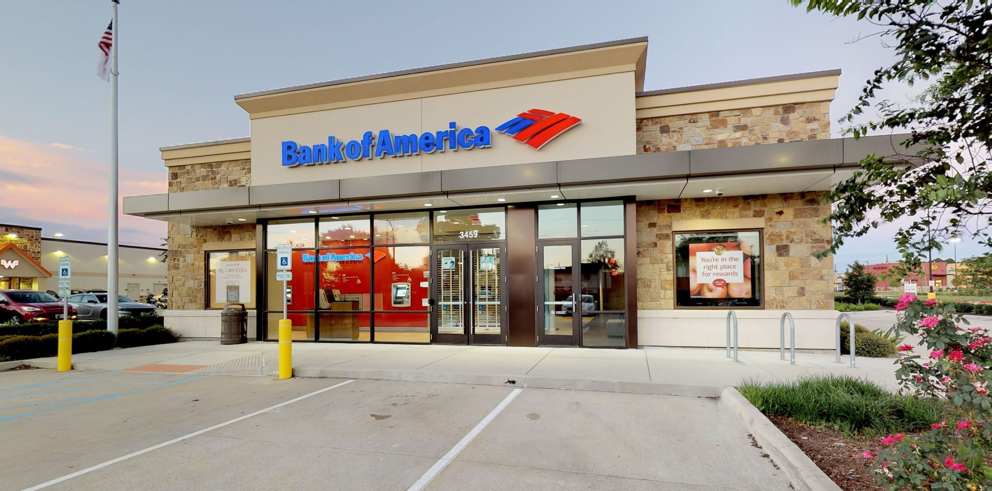 Bank of America financial center with drive-thru ATM | 3459 Rayford Rd, Spring, TX 77386