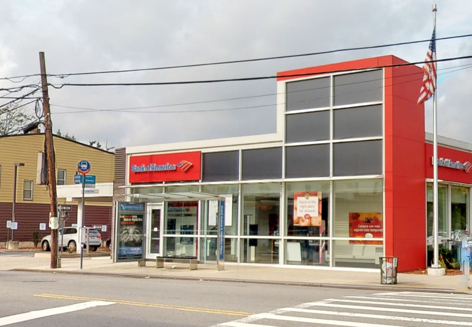 Bank of America financial center with drive-thru ATM   6563 Grand Ave, Flushing, NY 11378