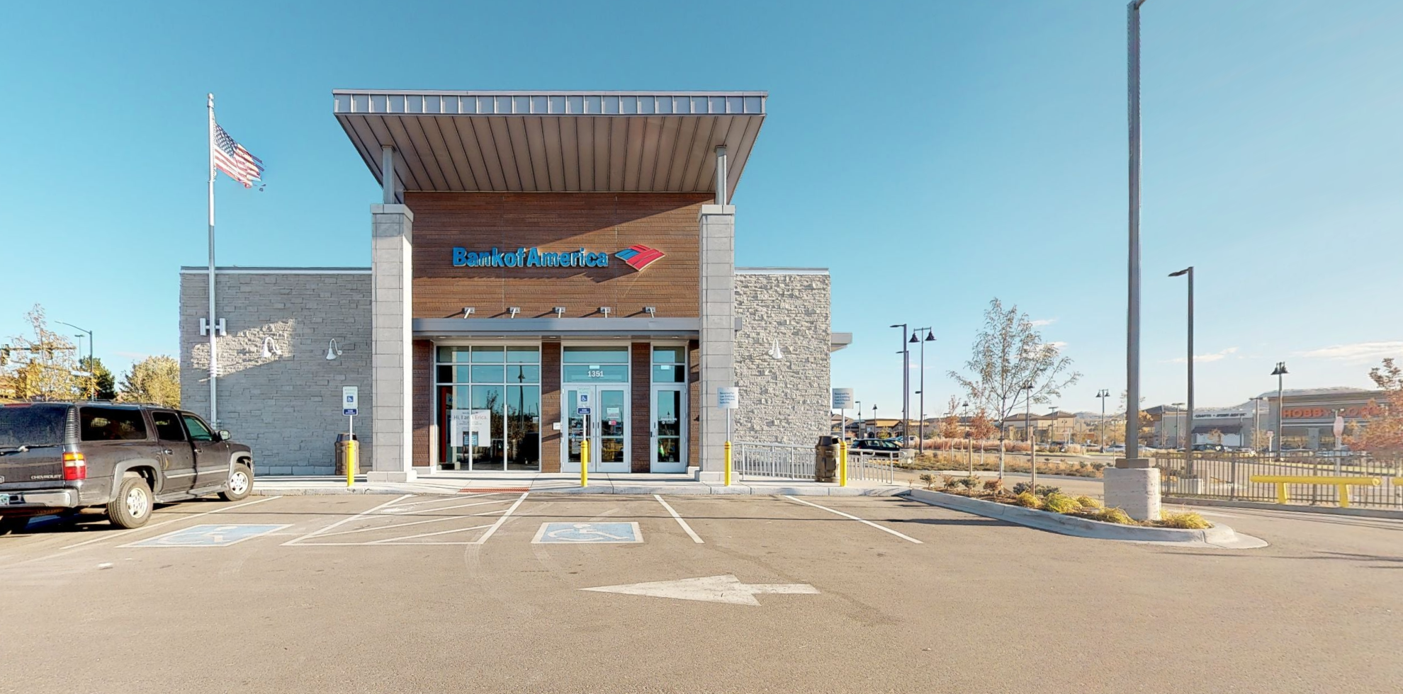 Bank of America financial center with drive-thru ATM   1351 New Beale St, Castle Rock, CO 80108